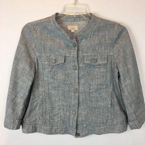 Ann Taylor LOFT Linen Blend Petite Blazer Jacket